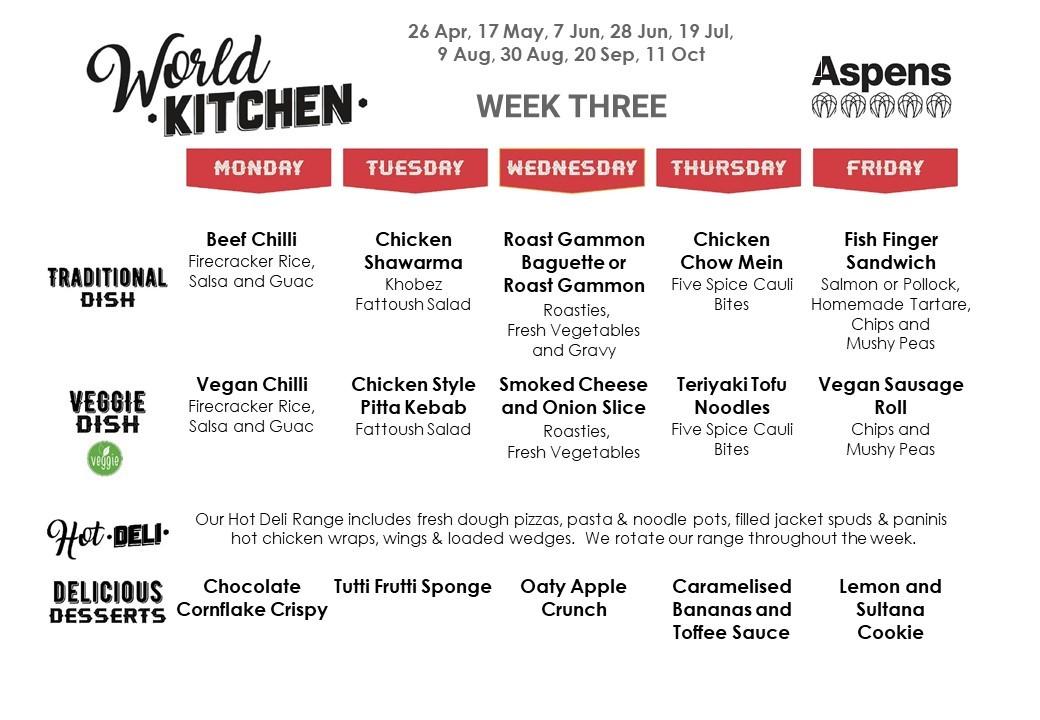 Week three menu